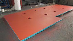 Oelauffangwanne für Maschinen in Schwarzstahl mit Farb-Korrosionsschutz
