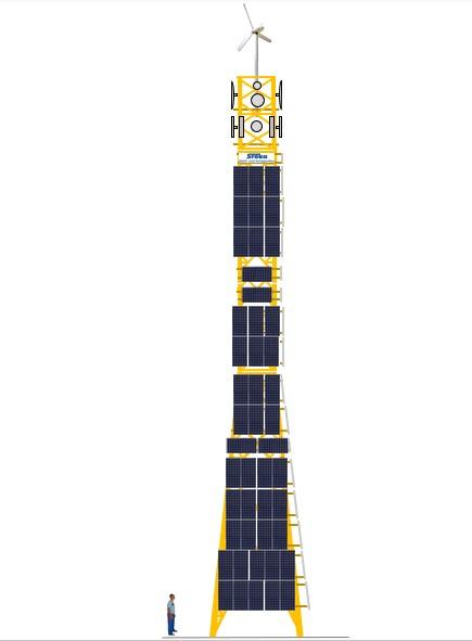 Hybrid-Energieturm für die ganzjährige und autarke Enegie-Versorgung von Telekommunikationsmasten